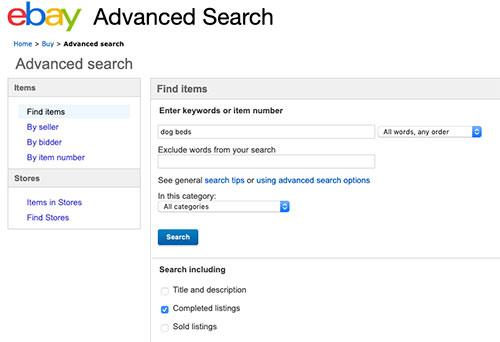ebay completed listings search