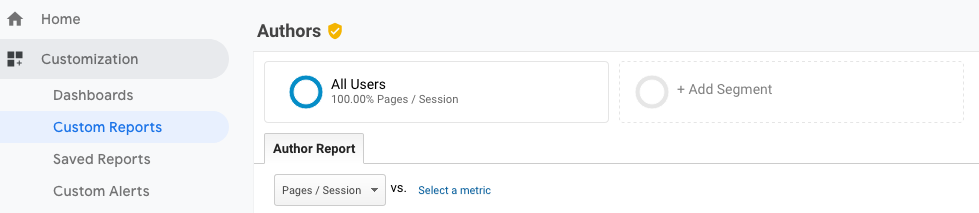 Author tracking with Google Analytics custom report