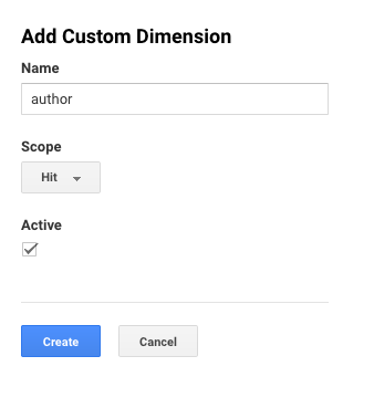 Author tracking with Google Analytics add author setting