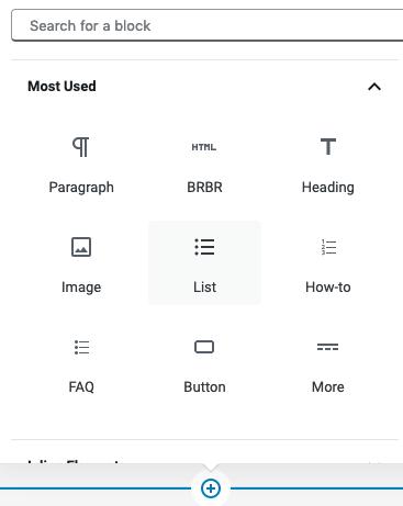 search blocks in gutenberg for WordPress
