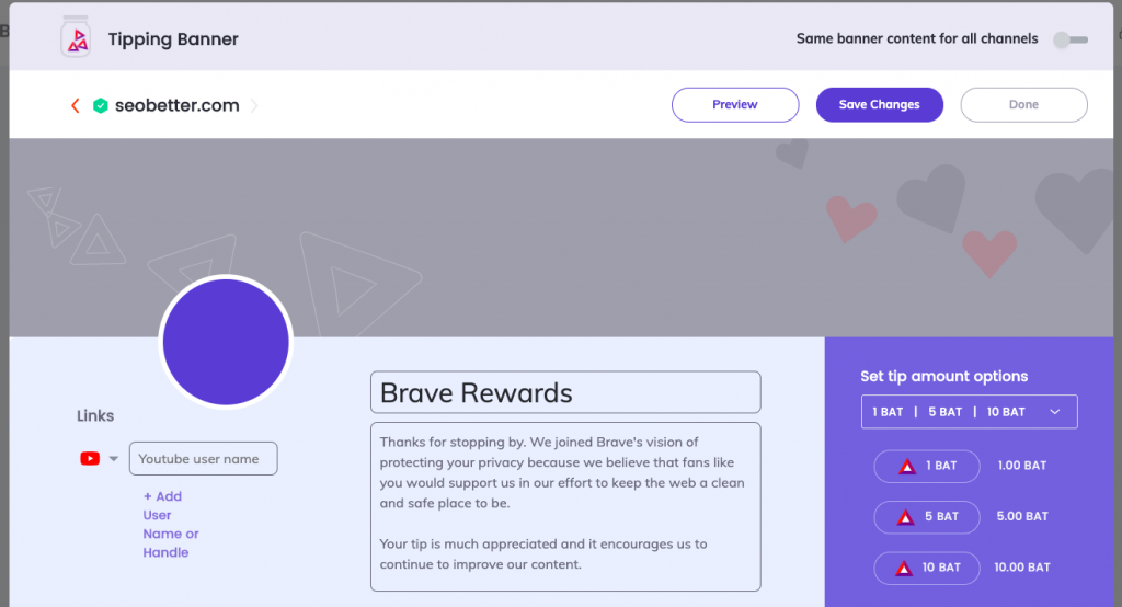 how to earn bat with brave, add details and images to your brave tipping page