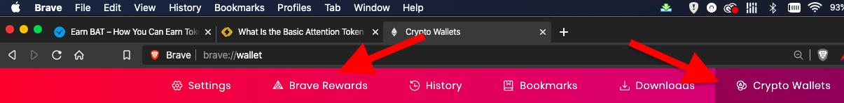 brave browser wallet and brave rewards