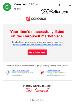 successful product listing email