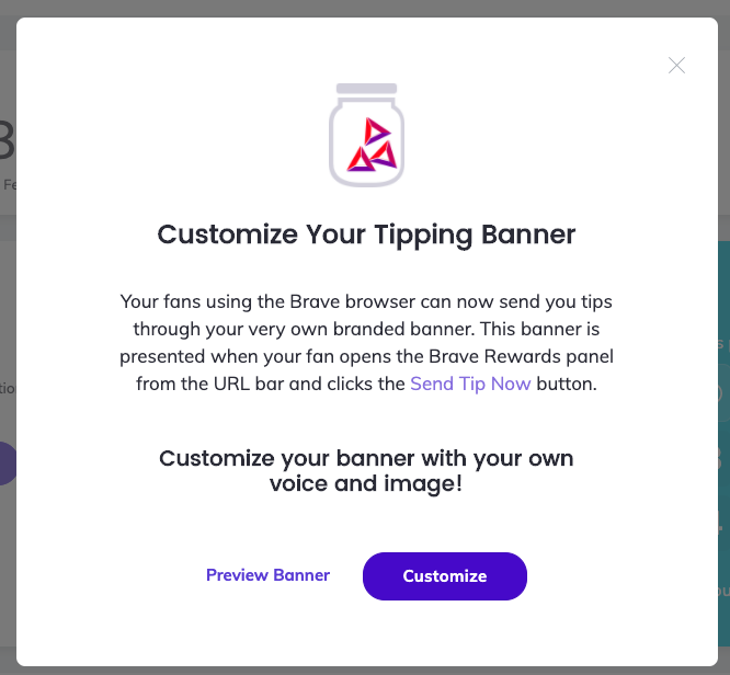 how to earn bat with brave first customize your brave tipping page