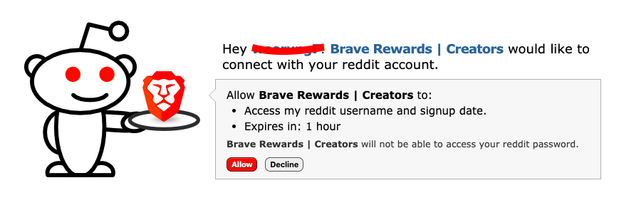 bat with brave - give access on reddit