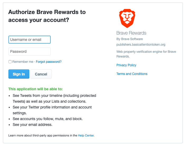 how to earn bat with brave - give access to your twitter account and brave publisher