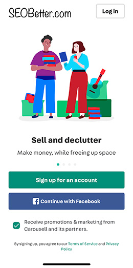 carousell app sign up page