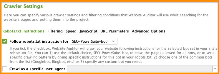 website auditor cralwer settings