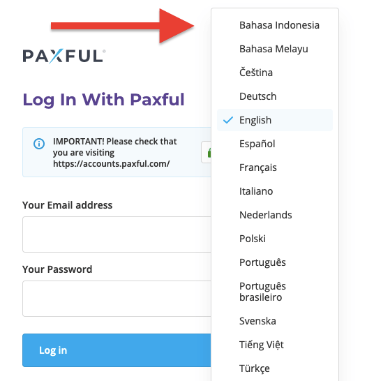 Paxful login - Language selection