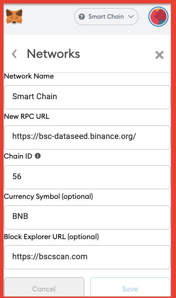 bsc smart network in metamask settings