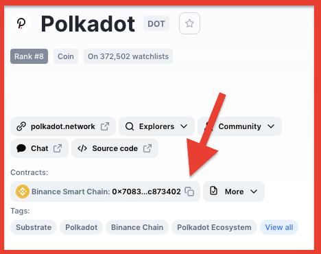 Polkadot binance smart chain address